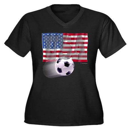 Soccer Flag USA Women's Plus Size V-Neck Dark T-Sh