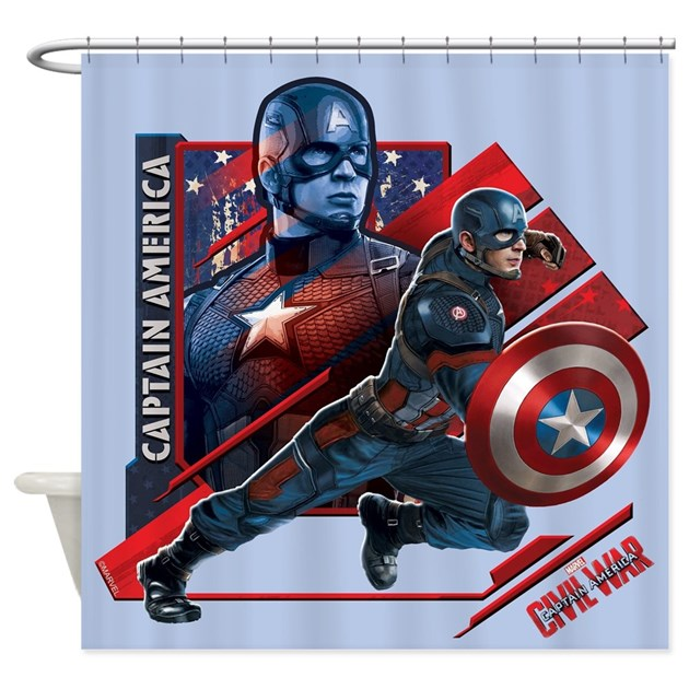 Captain america flag shower curtain by captainamericacivilwar - Captain america curtains ...
