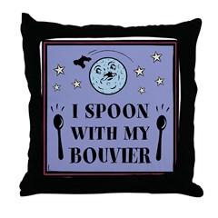 I Spoon With My Bouvier- Throw Pillow