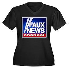 FAUX NEWS Women's Plus Size V-Neck Dark T-Shirt