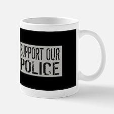 Support Our Police: Black U.S. Flag Mug