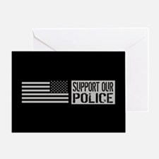 Support Our Police: Black U.S. Flag Greeting Card
