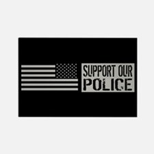 Support Our Police: Black U.S. Fl Rectangle Magnet