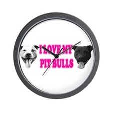 I Love My PBs (pink) Wall Clock