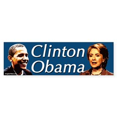 Clinton Obama Portraits Bumper Bumper Sticker