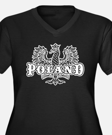 Poland Women's Plus Size V-Neck Dark T-Shirt