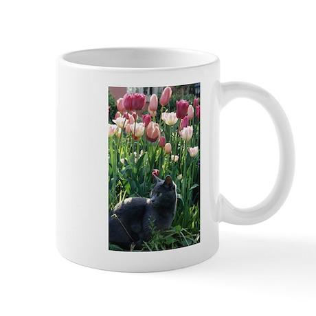 Mug: kitten in tulips