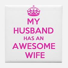 Unique I love my wife Tile Coaster