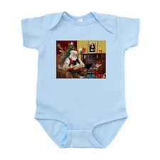 Santa's Pomeranian (bw) Infant Bodysuit