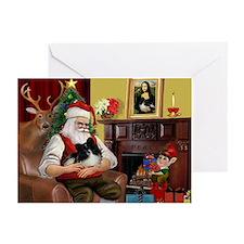 Santa's Pomeranian (bw) Greeting Cards (Pk of 20)