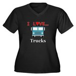 I Love Truck Women's Plus Size V-Neck Dark T-Shirt