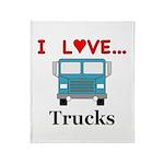 I Love Trucks Throw Blanket