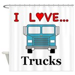 I Love Trucks Shower Curtain