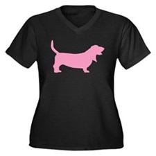 Pink Basset Hound Women's Plus Size V-Neck Dark T-