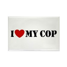 I Love My Cop Rectangle Magnet