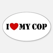 I Love My Cop Oval Decal