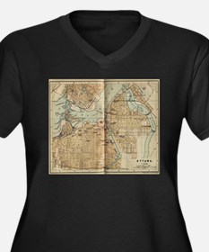 Vintage Map of Ottawa Canada (18 Plus Size T-Shirt