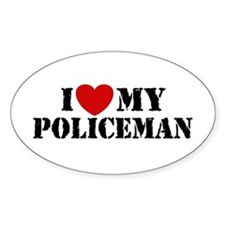 I Love My Policeman Oval Decal