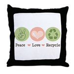 Recycling Peace Love Recycle Throw Pillow