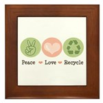 Recycling Peace Love Recycle Framed Tile
