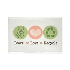 Recycling Peace Love Recycle Rectangle Magnet