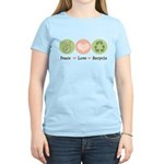 Recycling Peace Love Recycle Women's Light T-Shirt