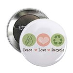 Recycling Peace Love Recycle Button