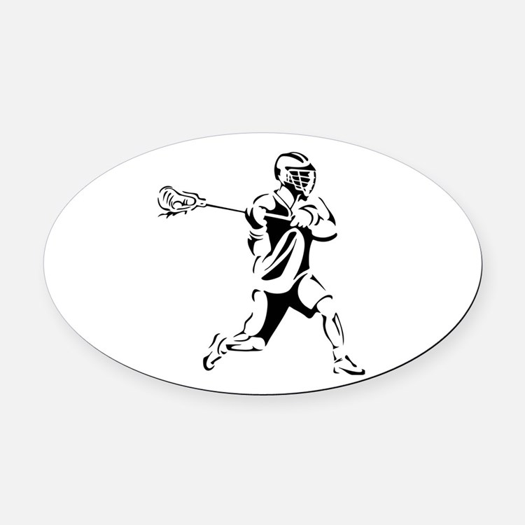 Lacrosse Player Action Oval Car Magnet