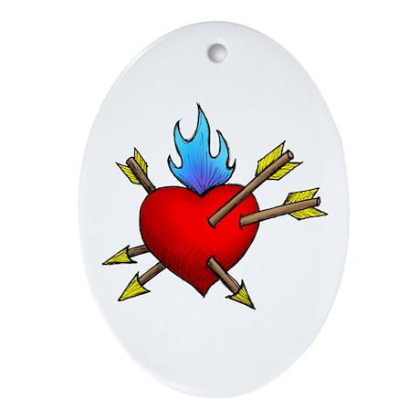 St. Sebastian's Heart Oval Ornament