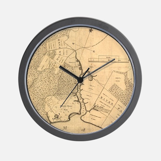 Vintage Map of The Mount Vernon Plantat Wall Clock