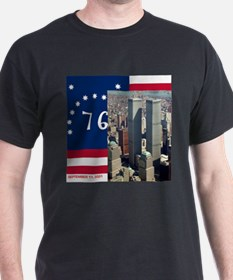 Twin Towers and Spirit of 76 U.S. Flag 9/11 T-Shir