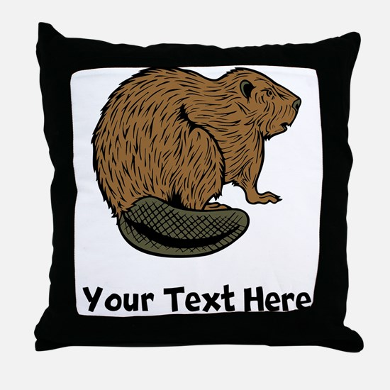 Brown Beaver (Custom) Throw Pillow