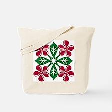 Plumeria Quilt Christmas Tote Bag