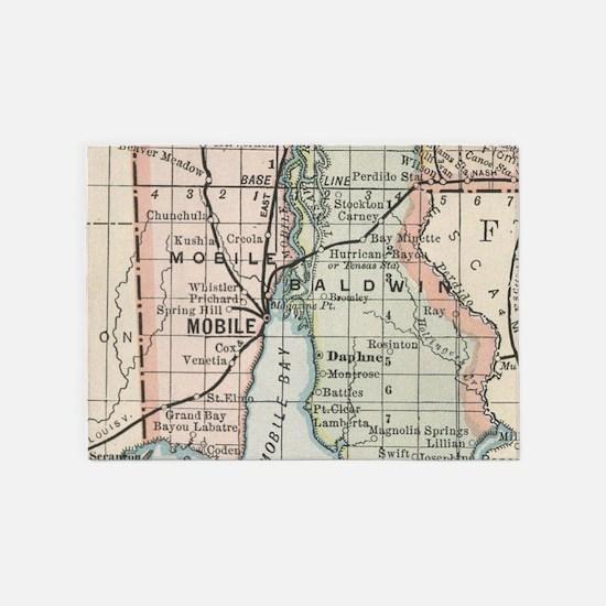 Vintage Map of Mobile Alabama (1891 5'x7'Area Rug