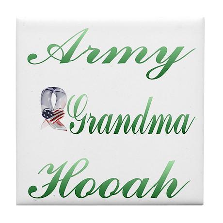 army grandma hooah Tile Coaster