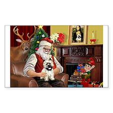 Santa's Cairn Terrier Rectangle Decal