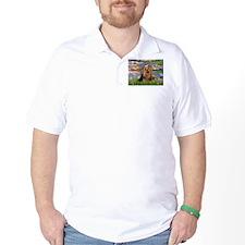 Monet's Lilies & Yorkie #7 T-Shirt