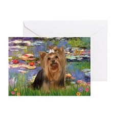 Monet's Lilies & Yorkie #7 Greeting Cards (Package