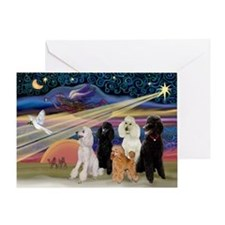 XmasStar/5 Poodles Greeting Card