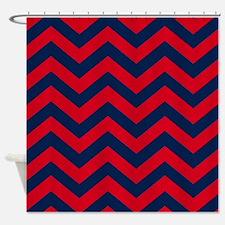 Chevron Pattern: Red & Blue Zig Zag Shower Curtain
