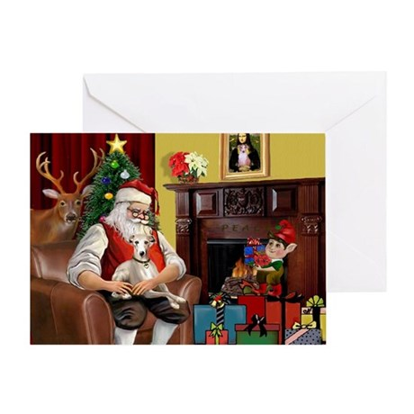 Santa's Whippet (#2) Greeting Card