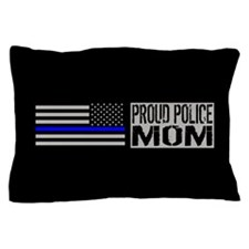 Police: Proud Mom (Black Flag & Blue L Pillow Case