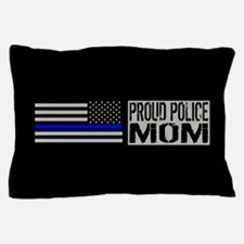 Police: Proud Mom (Black Flag Blue Lin Pillow Case