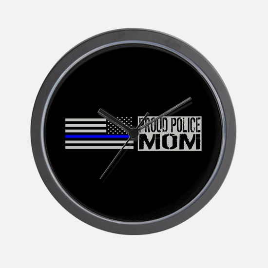 Police: Proud Mom (Black Flag Blue Line Wall Clock