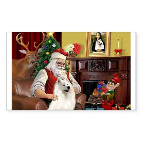 Santa's Samoyed Rectangle Sticker