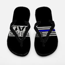 Police: Proud Dad (Black Flag Blue Line Flip Flops