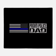 Police: Proud Dad (Black Flag Blue L Throw Blanket