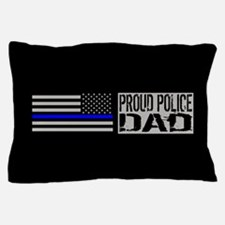 Police: Proud Dad (Black Flag Blue Lin Pillow Case