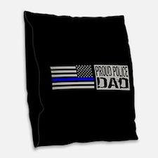 Police: Proud Dad (Black Flag Burlap Throw Pillow