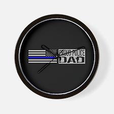 Police: Proud Dad (Black Flag & Blue Li Wall Clock
